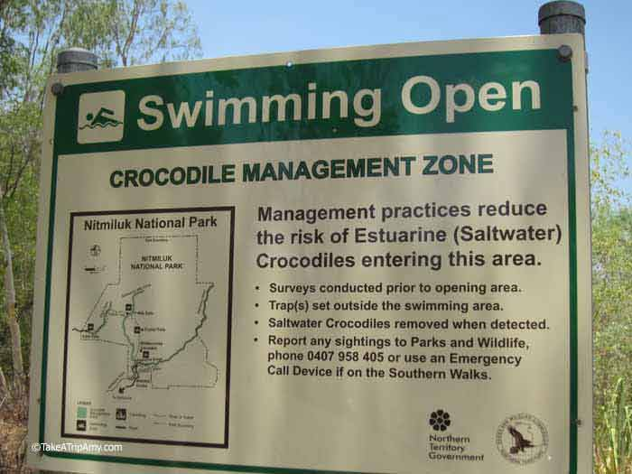 Warning Sign Edith Falls, Northern Territory, Australia
