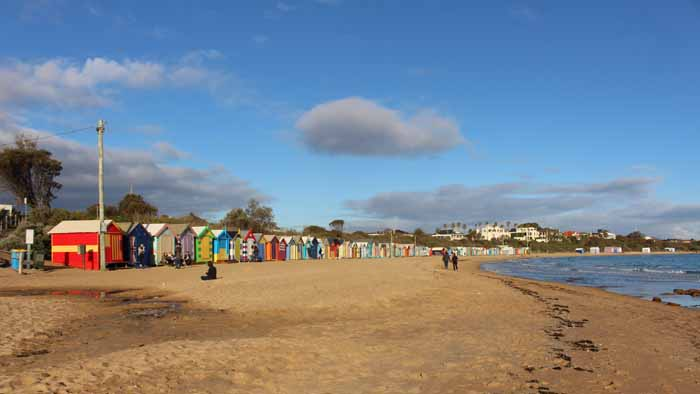 Brighton Beach Bathing Boxes on the Port Phillip Bay, Brigton Beach to St. Kilda coast walk, Victoria, Australia