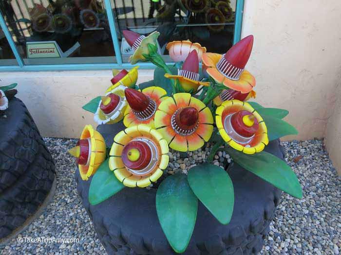 Flowers in Cars Land, Disney California Adventure, Los Angeles, USA