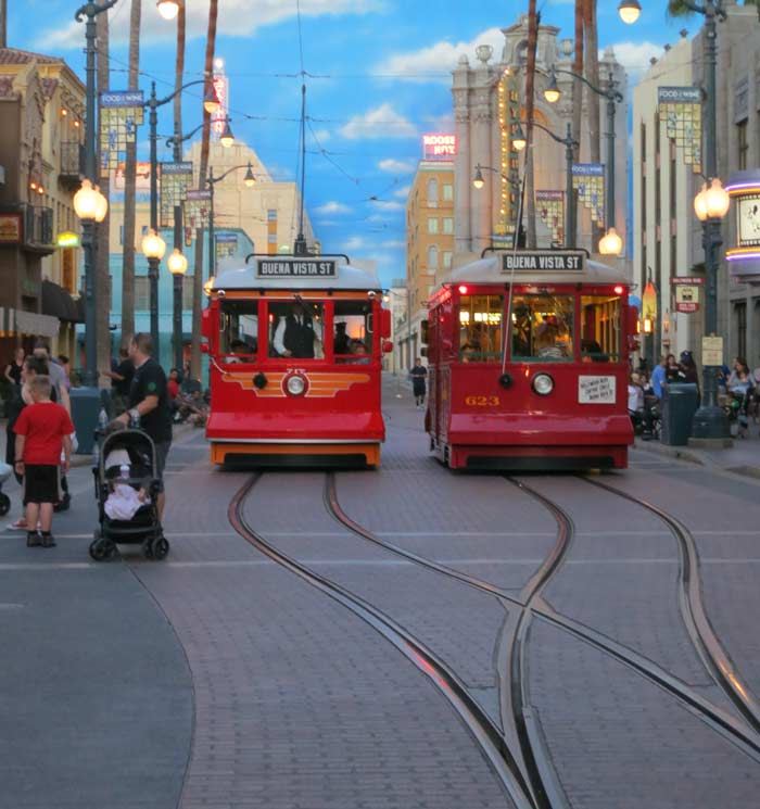 Replications of the Red Cars run through Hollywood Land, Disney California Adventure, Los Angeles, USA