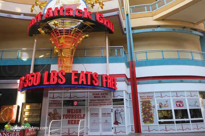 The Heart Attack Grill is a great fit with the ambiance of the Fremont Street Experience .