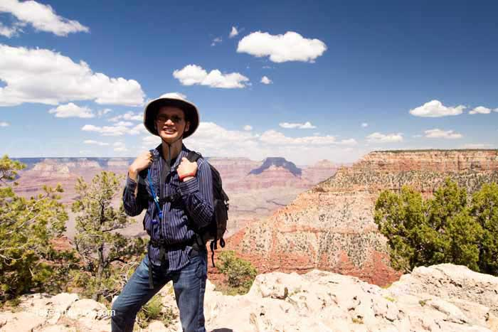 Roger in the foreground of views from the Rim Trail, Grand Canyon National Park, AZ, USA