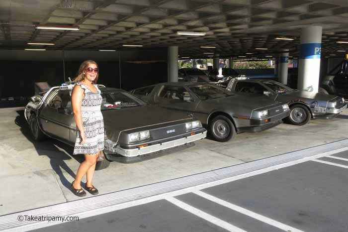Fans' replica DeLorean Time Machines, OUTATIME screening, Peterson Automotive Museum. - Take A Trip Amy